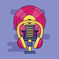 design de festival de música fofo com ícones pop