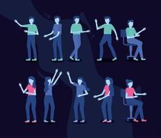 pessoas em diferentes poses conjunto de ícones vetor