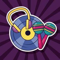 design de música fofo com ícones pop