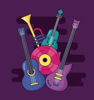 design de festival de música fofo com ícones pop vetor