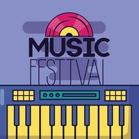 sintetizador e disco de vinil para fundo de festival de música vetor