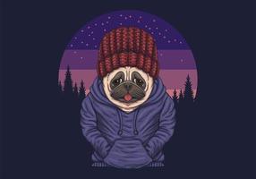 ilustração vetorial de cachorro pug noite