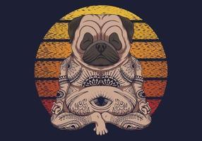 ilustração em vetor retrô ioga pug cachorro pôr do sol