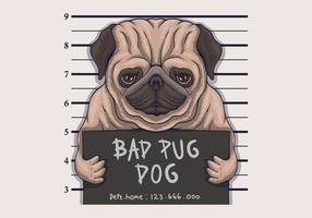ilustração em vetor crime cão pug ruim