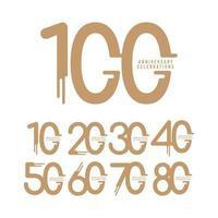 Ilustração de design de modelo vetorial comemorações de aniversário de 100 anos