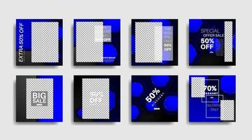 quadrados modernos editados banners promocionais para postagens de mídia social. ilustração de desenho vetorial