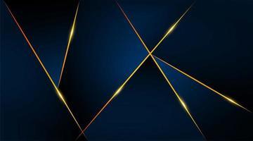 modelo de cartão de luxo geométrico moderno para negócios ou apresentação com linhas douradas sobre fundo azul escuro vetor