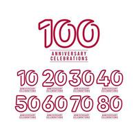 100 anos aniversário celebração número texto vetor modelo design ilustração