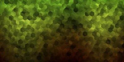 textura vector verde e amarelo escuro com hexágonos coloridos.