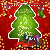 Feliz Natal e um Feliz Ano Novo, cartão quadrado vermelho e verde com árvore de Natal