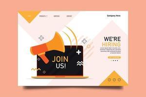 estamos contratando e junte-se a nós. modelo de página inicial do site. vetor