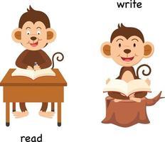 oposto de ler e escrever ilustração vetorial vetor
