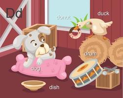 alfabeto d letra cão, donut, prato, tambor, vetor de pato
