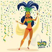 Ilustração bonita do dançarino de samba vetor