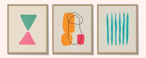 moderno conjunto contemporâneo de composição pintada à mão artística minimalista geométrica criativa abstrata. cartazes de vetor para decoração de parede em estilo vintage