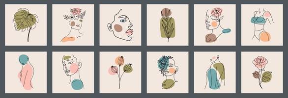 fundo grande conjunto de rostos, folhas, flores, formas abstratas. estilo de pintura a tinta. ilustrações vetoriais desenhadas à mão contemporânea. linha contínua, conceito elegante minimalista, todos os elementos são isolados vetor