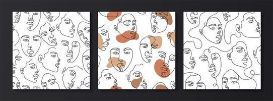 desenho de linha padrão sem emenda de rosto abstrato vetor