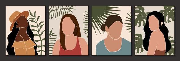 conjunto de silhuetas femininas e de folhas abstratas no estilo boho vetor