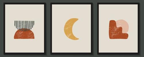 cartazes estéticos contemporâneos abstratos com formas geométricas vetor