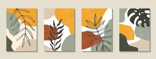 conjunto de cartazes com elementos de folhas tropicais e formas abstratas
