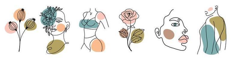 vários rostos, folhas e corpo, formas abstratas vetor