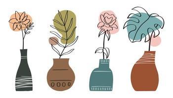 coleção de arte de linha abstrata com vasos e flores, folhas