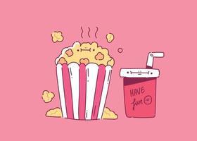 pipoca com um copo de refrigerante para ilustração em vetor cinema estilo mão cinema doodle