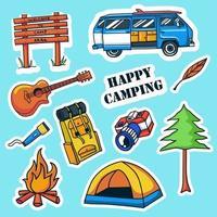 coleção colorida de adesivos de acampamento desenhados à mão