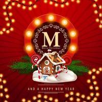 Feliz Natal e feliz ano novo, postal quadrado vermelho com casa de gengibre de Natal. cartão comemorativo com logotipo redondo com lâmpadas vetor