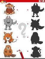 jogo de sombras com personagens animais engraçados vetor