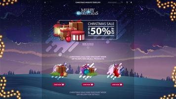modelo de site de design de venda de Natal com floresta de inverno no fundo violeta vetor
