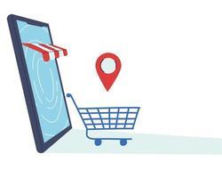 compra na loja virtual com pagamento com cartão vetor