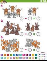 tarefa educacional de subtração matemática com animais em quadrinhos vetor