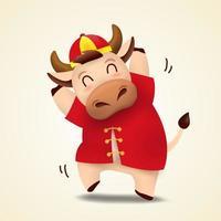 Zodíaco boi feliz ano novo chinês de 2021 com personagem de touro fofo vetor