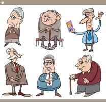 idosos pessoas personagens cartoon ilustração conjunto vetor