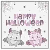 feliz halloween fofos morcegos desenhando com aranhas e teia vetor