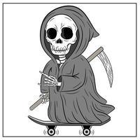 feliz dia das bruxas, desenho de ceifeiro assustador e assustador vetor