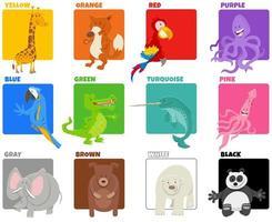 cores básicas definidas com personagens de animais em quadrinhos vetor