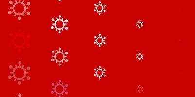 padrão de vetor rosa claro vermelho com elementos de coronavírus.