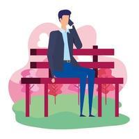 empresário elegante ligando com smartphone sentado na cadeira do parque vetor
