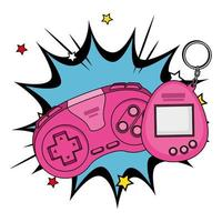 controle com mascote de videogame dos anos noventa na explosão pop art vetor
