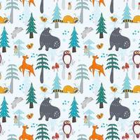 inverno na floresta sem costura padrão para crianças vetor