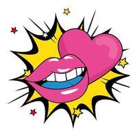 lábios sensuais com coração em explosão pop art vetor
