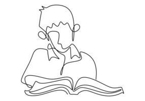 único livro de leitura de foco menino desenho linha contínua. sentar e estudar com seu livro. ilustração vetorial