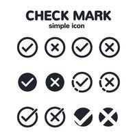 conjunto de ícones de marca de seleção mínima