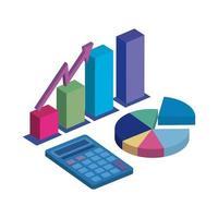 gráficos de estatísticas com ícone isolado de calculadora vetor