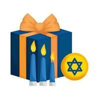 caixa de presente com velas e estrela david vetor