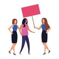mulheres de negócios com ícone isolado de cartaz de protesto vetor