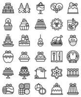 conjunto de ícones de linha de alimentos e bebidas de natal vetor