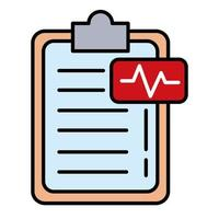 pulso ecg com linha da lista de verificação e estilo de preenchimento vetor